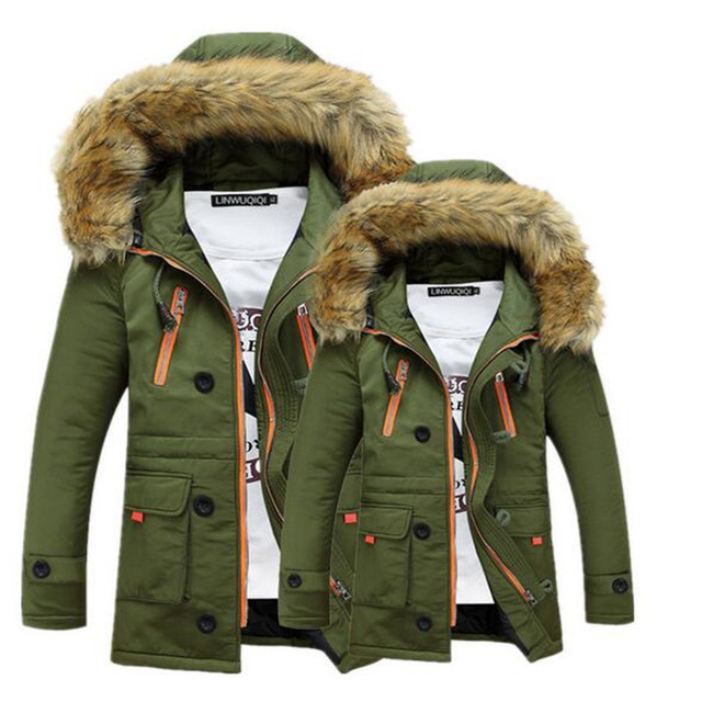 0d30960bf4 New Men s Winter Coat Fashion Parkas Jackets Thick Warm Quilted Padded  Cotton Parkas Jacket Hot Mens