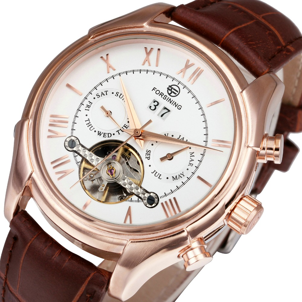 цены WINNER Men Mechanical Automatic Watch Tourbillon Man Wrist Watch Leather Watch Band Working Sub-dials Calendar Date +BOX