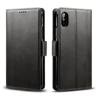 New PU Leather Wallet Case For IPhone X Flip Cover With 3 Card Pocket Kickstand Business