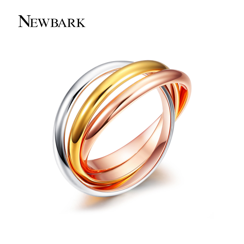 NEWBARK Brand 3 Circles Twisted Women Rings Yellow Rose Gold Silver Color Zinc Alloy Sale Women Ring Cute Jewelry Anel Feminino
