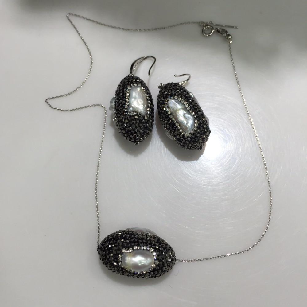 Collier pendentif en perles d'eau douce naturelles et boucles d'oreilles ensemble de bijoux pour femmes fines livraison gratuite fête à la mode