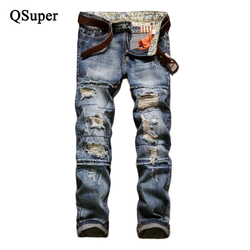 ФОТО QSuper High Quality Brand Men Blue Cotton Ripped Jeans Men Regular Straight Luxury Stone Wash Fashion Jeans Men Biker Jeans
