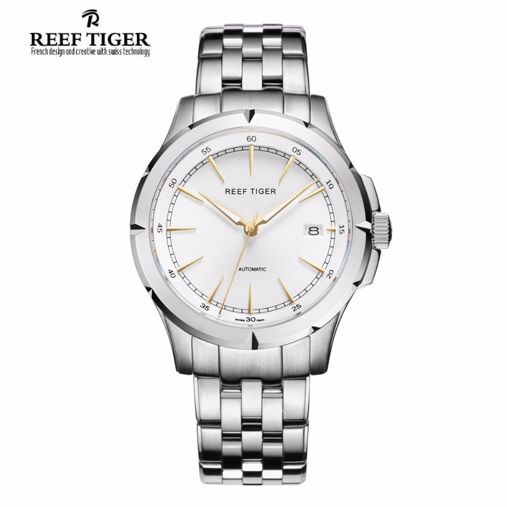 Reef Tiger/RT Watches New Arrival Business Dress Watches Automatic Date Mens Full Steel Luminous Watches RGA819 yn e3 rt ttl radio trigger speedlite transmitter as st e3 rt for canon 600ex rt new arrival