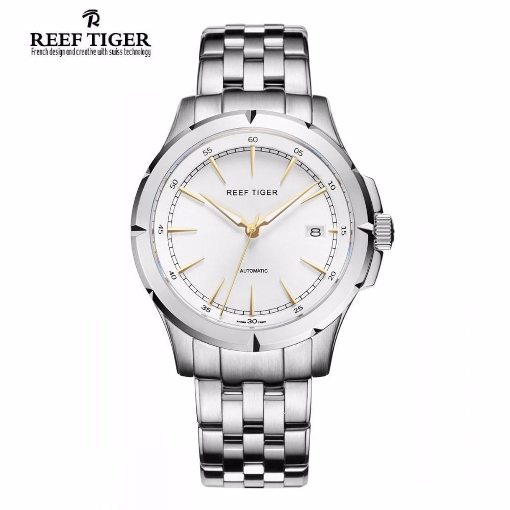 Reef Tiger/RT Watches New Arrival Business Dress Watches Automatic Date Mens Full Steel Luminous Watches RGA819 набор кухонных ножей квартет кизляр