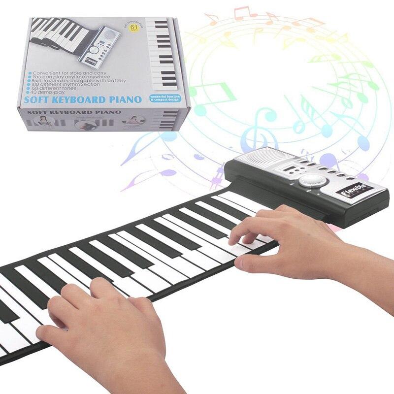 Venda quente portátil teclado digital flexível piano 61 teclas 128 tons ritmos eletrônico enrolar brinquedos de piano