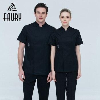Шеф повар для мужчин и женщин Стенд воротник однобортный летние дышащие короткий рукав повседневное Ресторан поварская одежда униформа дл... >> FAURY Quality Store