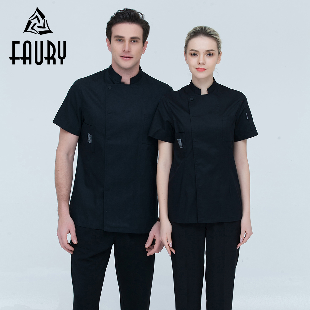 Chef Men And Women Stand Collar Single Breasted Summer Breathable Short Sleeve Casual Restaurant Cook Wear Catering Uniforms