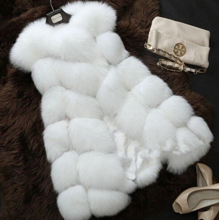 Nouveau 2018 arrivée hiver chaud mode femmes importation manteau fourrure gilet haute qualité fausse fourrure manteau fourrure de renard Long gilet grande taille: XXXXL