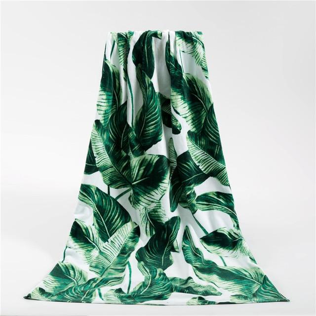 2017 Summer Beach Towels Brand 100% Cotton Unisex High Quality Beach Towel Green leaves Printed Swimming Bath Towel 165*85cm