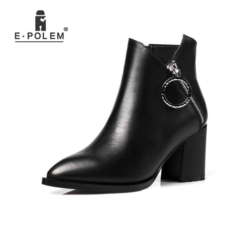 купить Genuine Leather Martin Boots Metal Ring Zipper Puller Punk Ankle Boots Women High Heel Chelsea Boots Teenage Girl Boots Shoes по цене 5309.24 рублей