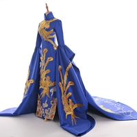100%real royal blue queen embroidery gown long dress Medieval Renaissance court Victoria dress/stage performance/show/drama