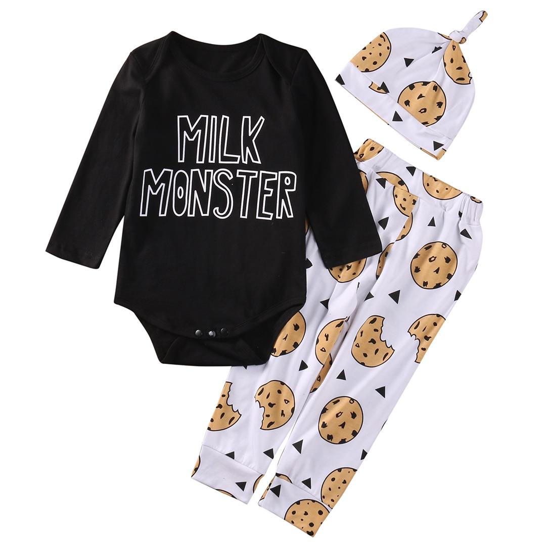 2017 Fashion Newborn Baby Boys Girls Top letter long sleeve Romper +Long Pants Hat 3PCS Outfits Set Clothes