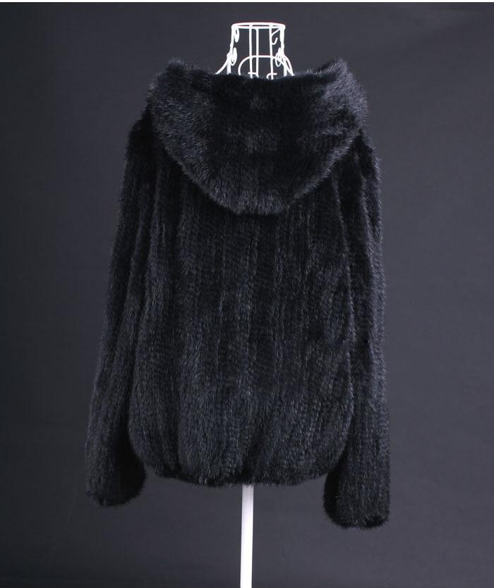 Femmes Vison Vk3016 De Grande Fourrure Manteaux Véritable 6xl Hiver Avec Tricoté black Manteau 5xl Taille Brown Capuche Dames qFn1z