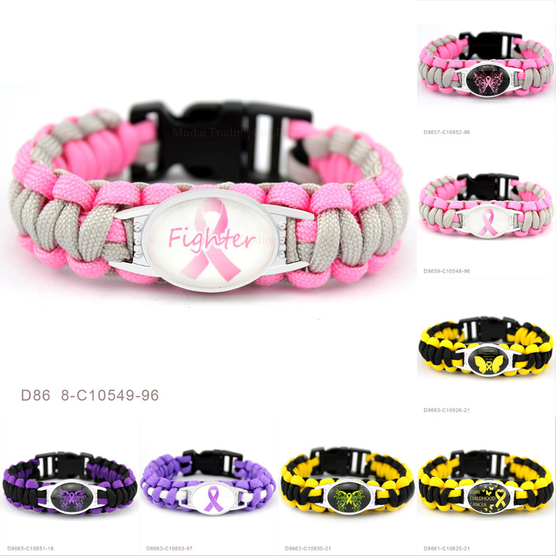 (10 PCS/lot) Pink Fighter Breast Cure Childhood Cancer Awareness Butterfly Ribbon Paracord Bracelet Survival Friendship Jewelry