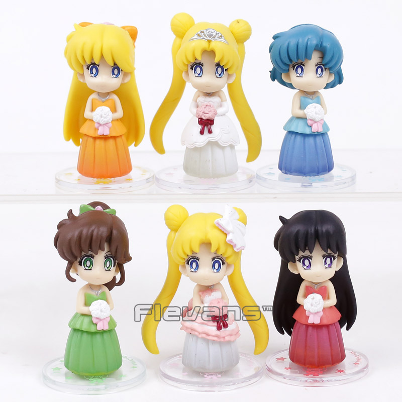 Sailor Moon Dress ver. 6pcs/set Tsukino Usagi Serenity Sailor Mars Mercury Venus Jupiter PVC Figures Toys with Keychain Pendants free shipping hot heat resistant party hair new wig silver white sailor moon tsukino usagi cosplay party wigs