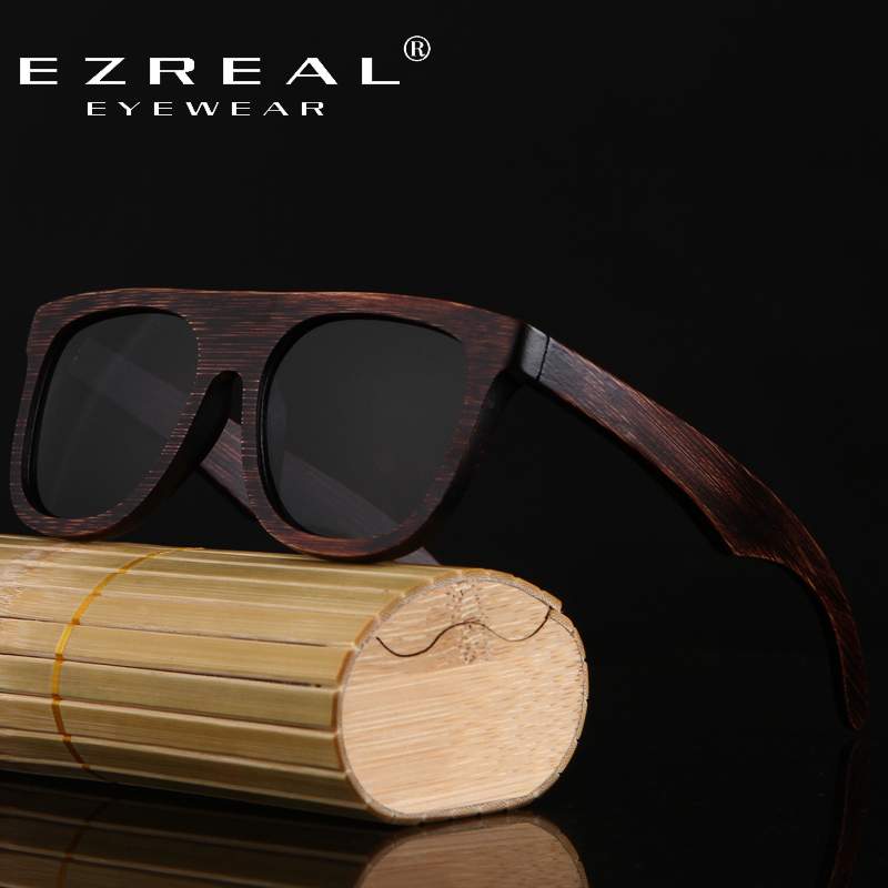 1695f91725 EZREAL 2017 New Bamboo Sunglasses Men Sunglasses wood Brand Designer Women  Mirror Original Eyewear Oculos de sol Masculino