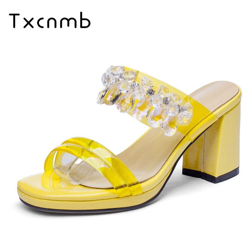 899892425f Sapatos 2019 Sandálias Couro Mulher Vermelho amarelo Transparente Fivela  Mulheres Festa prata Txcnmb Novos Mulas Genuíno Chegada De Moda ...