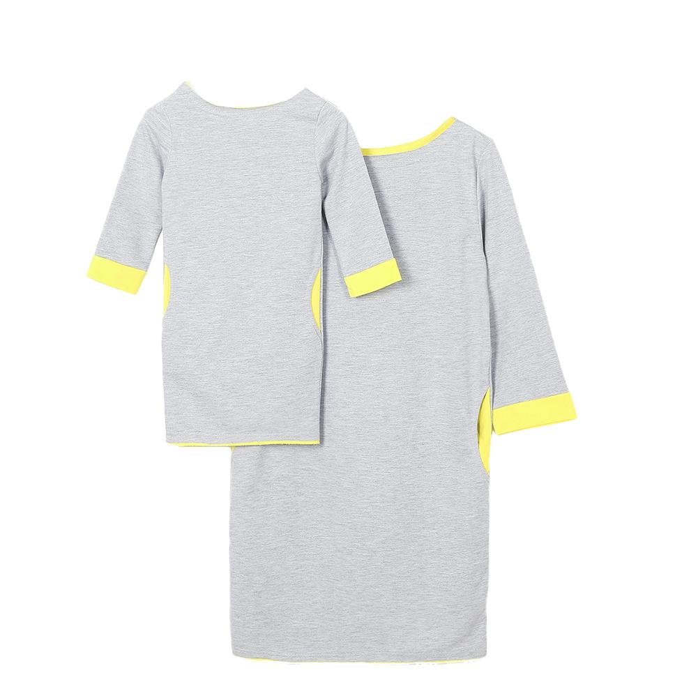 Fashion Casual Mother Daughter Matching Mini Dress Long Sleeve O-Neck Color Block Dress