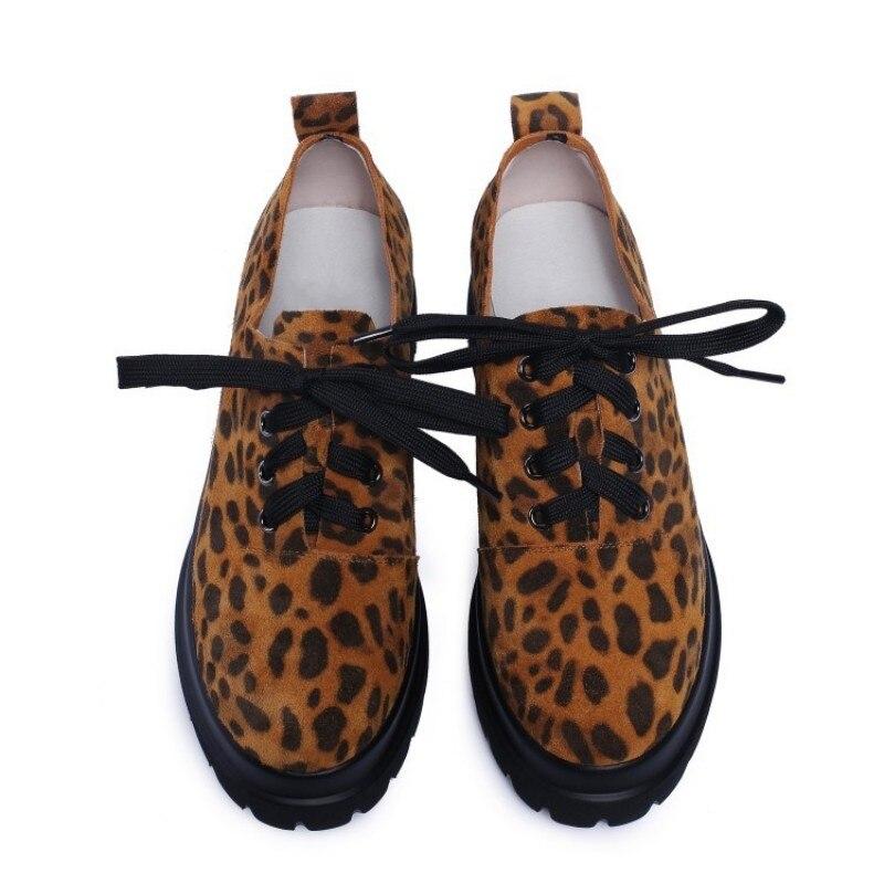 Redonda Leopardo 2019 Genuino Moda 2 Zapatos De Plataforma Mujer Punta Casual Cuñas Cuero Diseñador Lujo Impresión Con 1 X6fgqpw6
