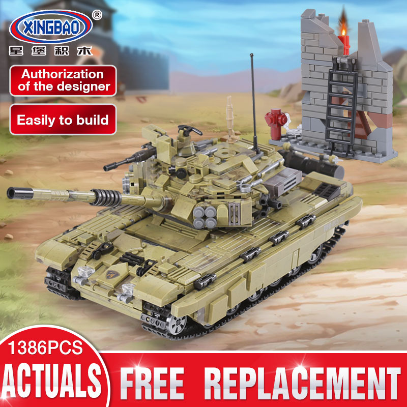 XINGBAO 06015 Genuine 1386Pcs Military Series The Scorpio Tiger Tank Set Building Blocks Bricks Toys Educational Christmas Gifts xingbao 06009 military series the extreme snowmobiling sets legoinglys building nano blocks bricks toys for children kids