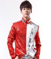 Singer 1 stage star style bar Rock Punk red Sequin Reflective lens Rivets coat men jacket Performance Costumes manteau homme