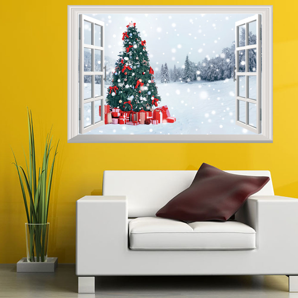 2018 christmas tree wall sticker for kids room 3d outside the 2018 christmas tree wall sticker for kids room 3d outside the window snow wall decals christmas decoration art mural kids gifts in hair clips pins from amipublicfo Images