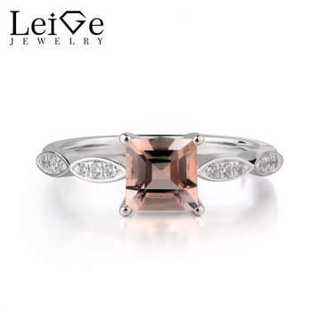 Leige Jewelry Natural Pink Color Morganite Genuine Gemstone Square Shape Prong Setting Engagement Rings Lovely Gifts For Woman