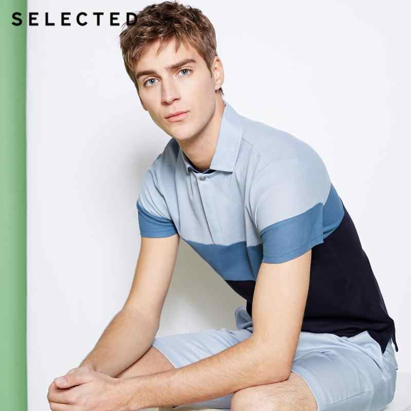 SELECTED Men's 100% Cotton Turn-down Collar Short-sleeved Poloshirt S|41823Z517