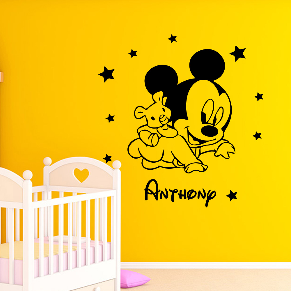 Custom name of mickey mouse minnie wall sticker wall decals vinyl stickers for children room kids room decoration accessories