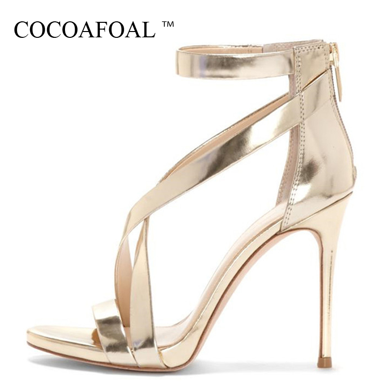 COCOAFOAL Women Golden Wedding Sandals Plus Size 33 - 43 11 CM High Heels Sandals Party Shallow Sexy Silver Summer Pumps 2018 gladiator womens size 11 heels sheepskin sandals large size 33 cm 43 cm summer black green sandy cross tied woman pumps sexy