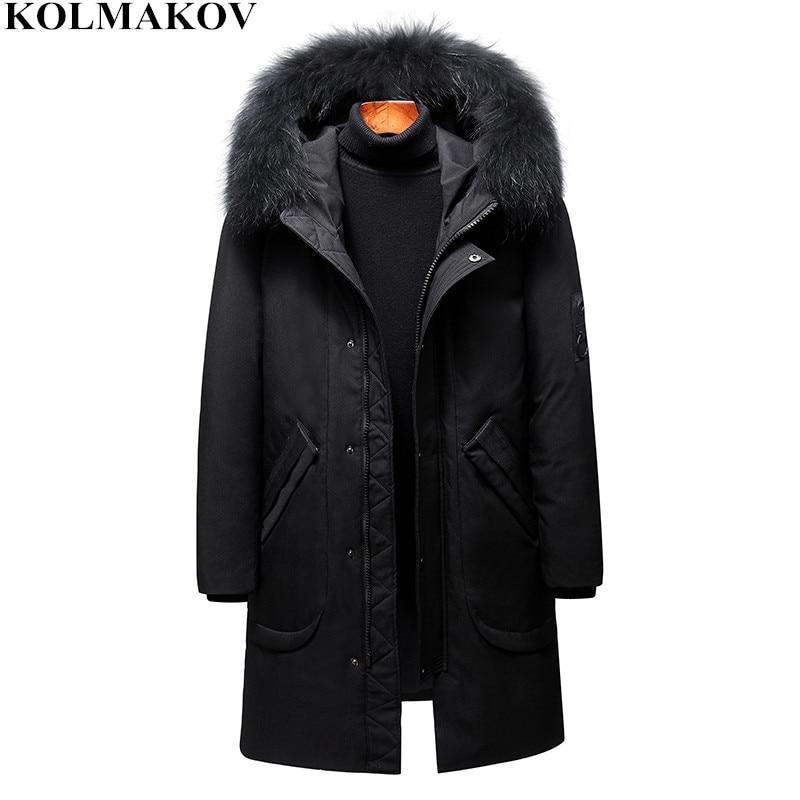 KOLMAKOV Men's Clothing 2018 New Classic Mens Thick 85% Duck   Down     Coats   Winter Black, Red, White Hooded Overcoats for Men M-3XL