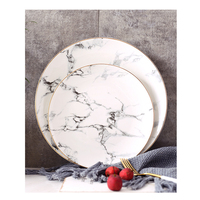 Nordic Style Ceramic Storage Tray Traced Gold Marble Western Dishes Salad Plate Home Steak Dish Dessert Plate Table Swing Tray