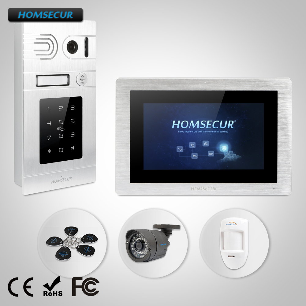 """Güvenlik ve Koruma'ten Video Interkom'de HOMSECUR 7 """"Kablolu Görüntülü Kapı Telefonu interkom sistemi + Şifre Erişim Daire BC071 S + BM714 S title="""