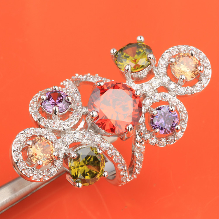 Cheerful 7 pcs Multi color Morganite Amethyst Garnet 925 Sterling Silver Fashion Trendy Women s Jewelry