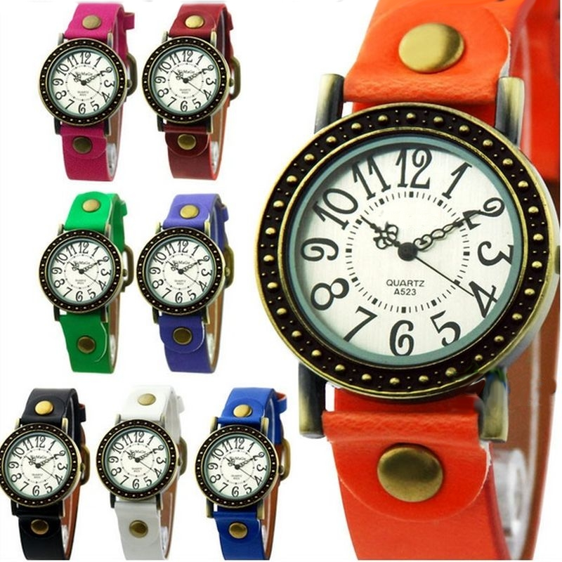 Leather Wristwatch Round Bronze Ladies women Retro Vintage watch lady woman Watch purple black white red green khaki colors