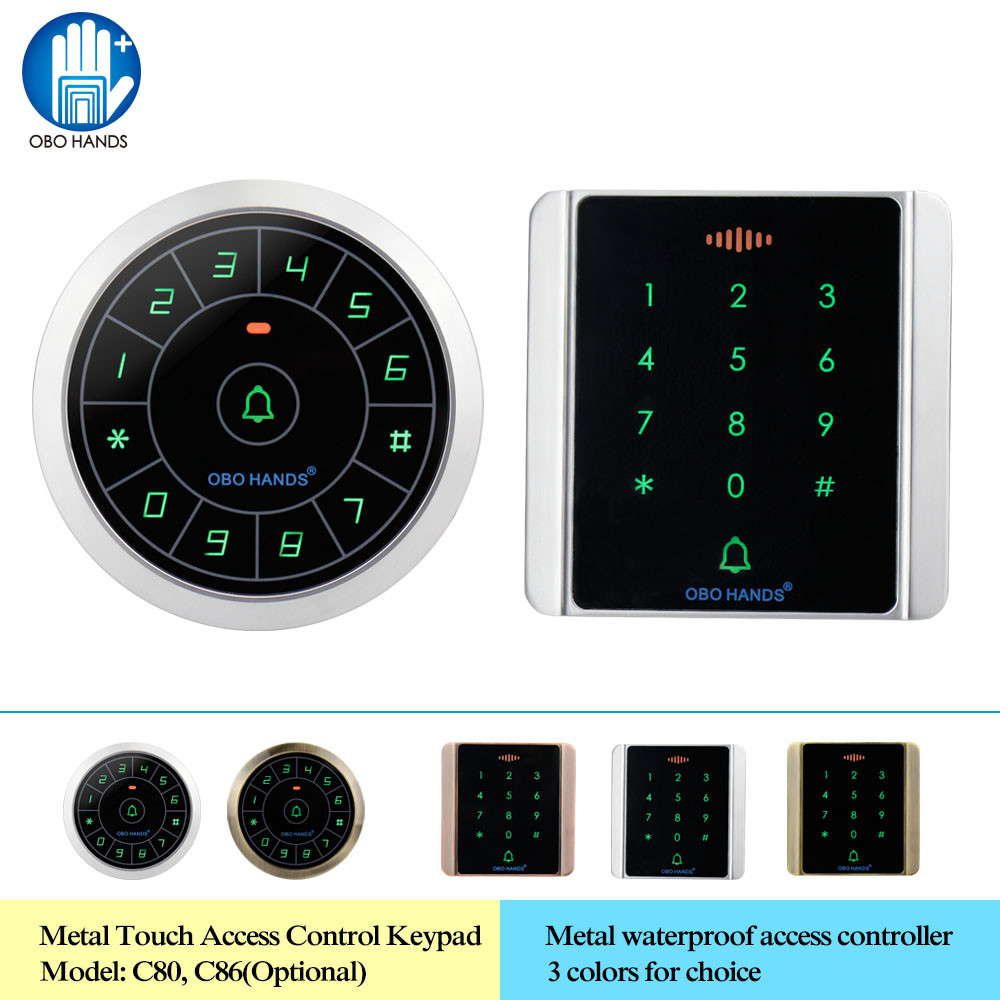 OBO HANDS IP65 Waterproof Access Controller Reader 125KHz RFID Keypad Digital Keyboard Metal Touch WG26/34 Data Copy 8000 Users