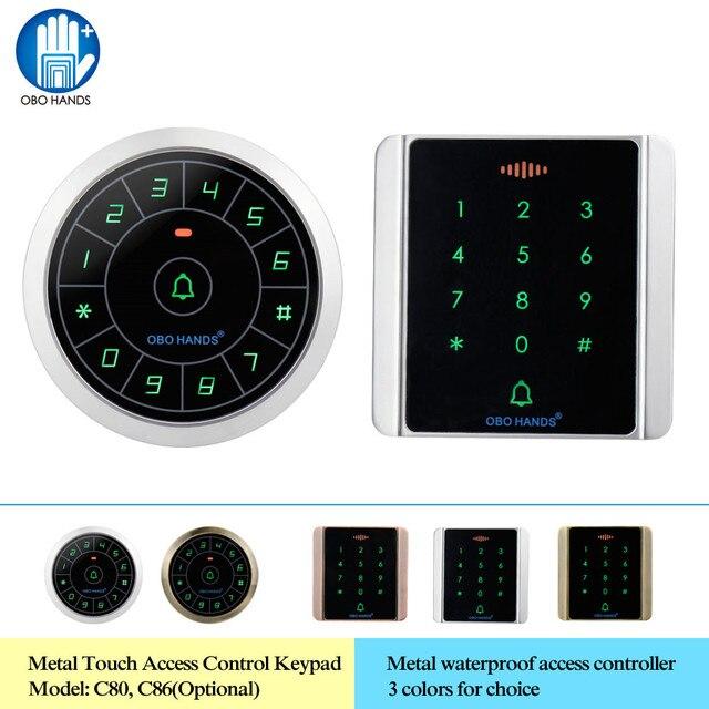 OBO ידיים IP65 עמיד למים גישה בקר קורא 125KHz RFID מקלדת דיגיטלית מקלדת מתכת מגע WG26/34 נתונים עותק 8000 משתמשים