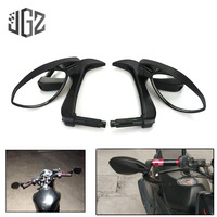 Black Universal Motorcycle CNC Aluminum Handle Bar End Rear View Side Mirrors For Yamaha Kawasaki Honda Street Bike Accessories