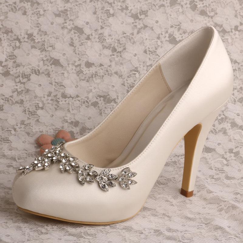 8cae98b6c929f Wedopus MW565 Closed toe Bling Bling High Heels Cream Wedding Shoes ...