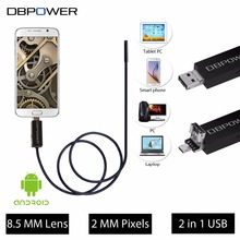 DBPOWER USB HD  2 In 1 Video Endoscope for Android Mobile and Laptop10M/5M/2M 8.5MM Lens Ipx67 6LED Borescope Snake Camera