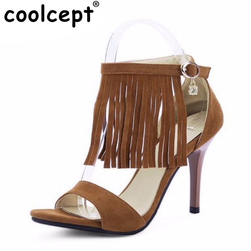 women fashion tassel sandals lady thin high heel shoes brand quality party footwear heeled shoes size 31-45 PB00091 женские сандалии brand fashion women s shoes fashion women high heel sandals