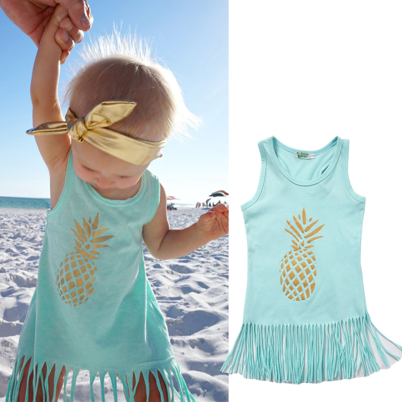 Pineapple Toddler Kids Baby Girl Dress Sleeveless Party Tassel Dresst Clothes