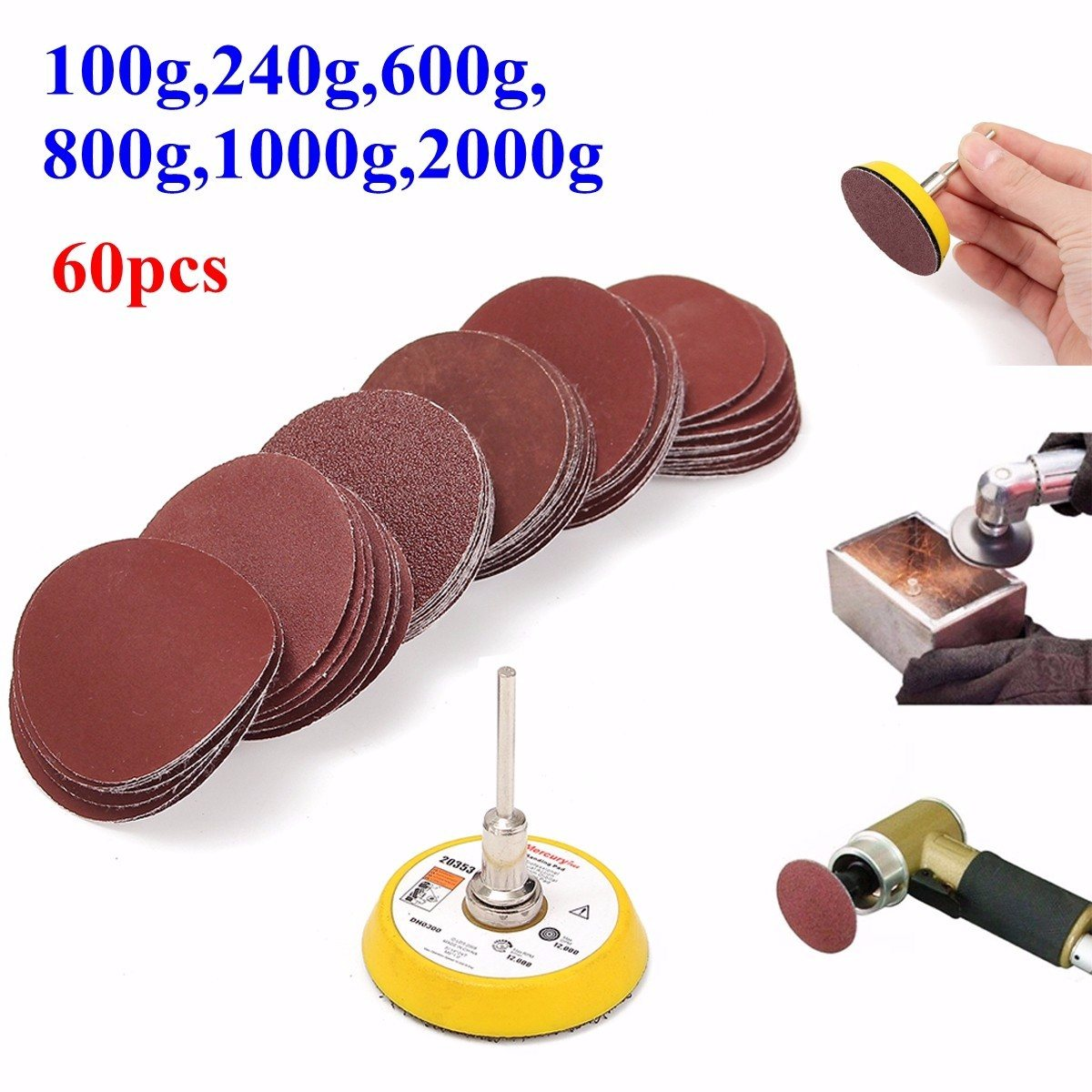 DANIU New 2 Inch 50mm Hook And Loop Sanding Pad 3mm Shank With 60pcs 100 To 2000 Grit Sand Paper Kit Durable