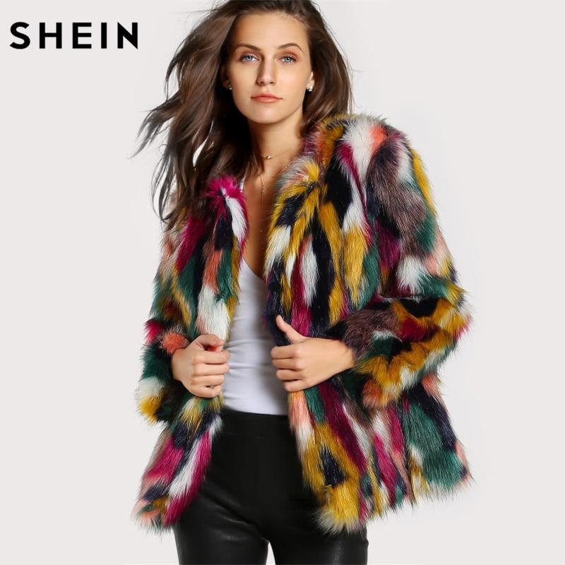 Шеин Для женщин Элегантный шубы красочные искусственного меха пальто многоцветный с длинным рукавом без воротника Повседневное зимняя жен...