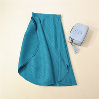 Miyake The classic style fold skirt Girls twill asymmetric arc length pleated skirts free shippin
