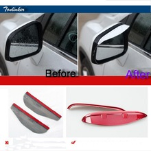 Tonlinker 2 PCS DIY Car Styling ABS Paint Rearview Mirror Rain Eyebrow Cover Case stickers for Chevrolet TRAX 2014 Accessories