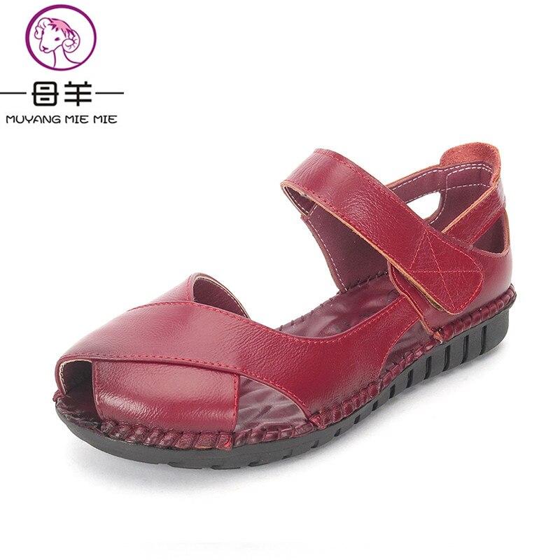 fdc8031fe24a Летние женские туфли натуральная кожа мягкая подошва туфли на плоской  подошве женские сандалии с открытым носком удобная женская обувь женские  босоножки ...