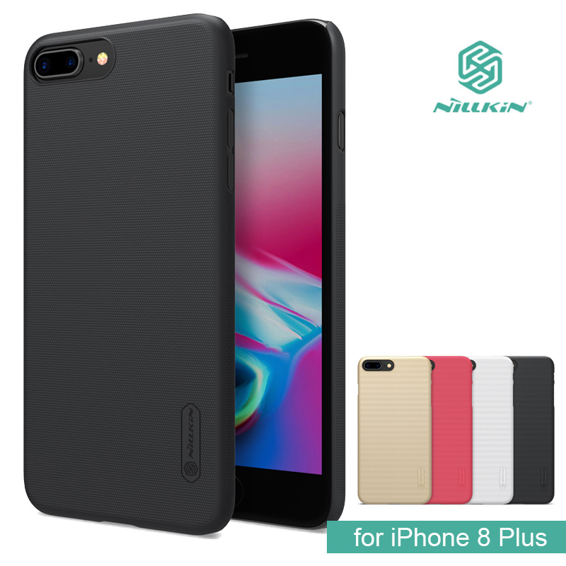 "for iPhone 8 Plus Nillkin Super Frosted Shield Hard Back PC Cover Case for iPhone 8 Plus 5.5"" Phone Case +Screen Protector"