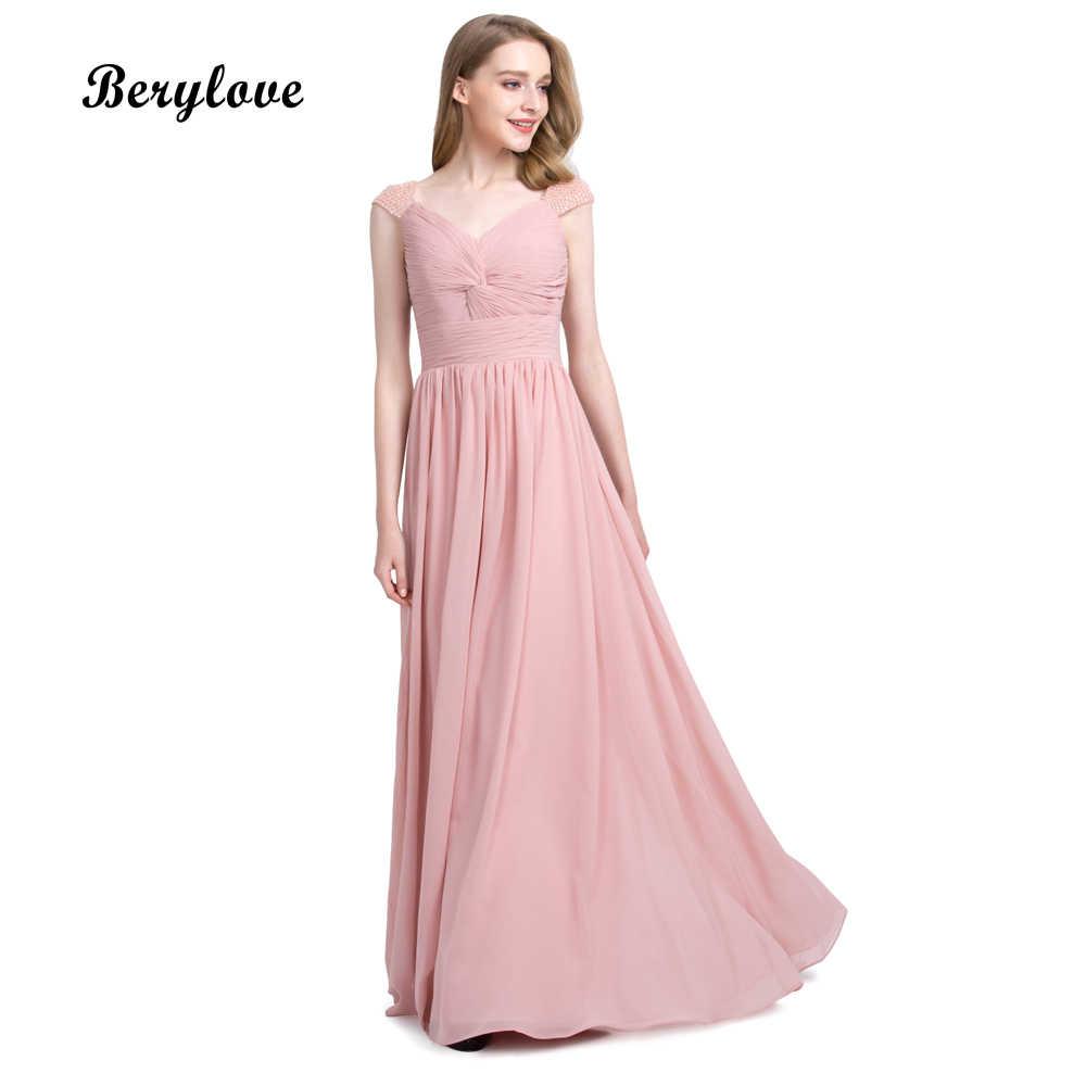 102afa736a3 BeryLove длинные грязно-розовый шифон Вечерние платья 2018 простой вечернее  платье вечерние платья выпускного вечера