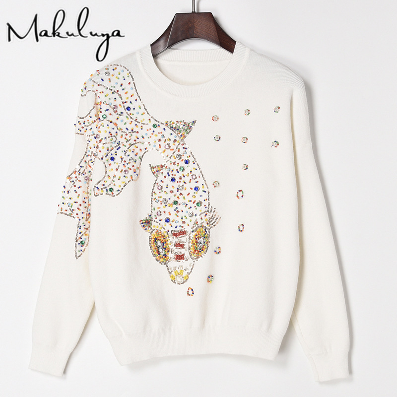 Makuluya Women Black Manual Bead Goldfish Sequins Embroidery Sweater Female Knitting Basic Tops Pullover Autumn Spring WinterQW